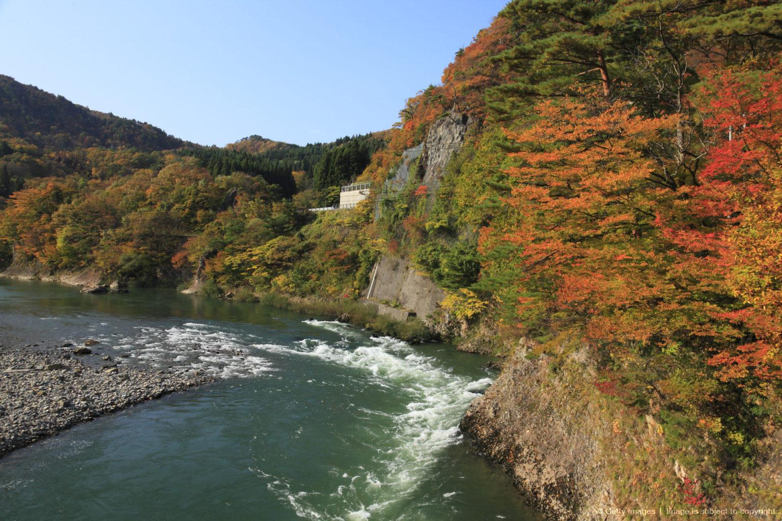 Autumn Leaves and Arakawa Ravine, Sekikawa, Iwafune, Niigata, Japan