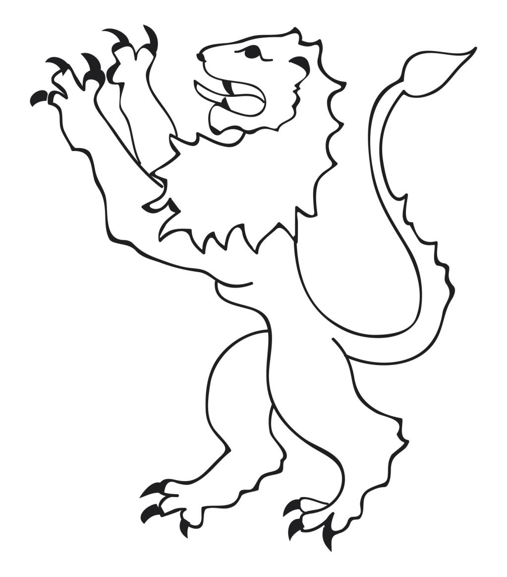 Black and white illustration of lion leaping up representing animal attitude in heraldry
