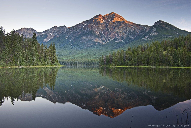 Mountain reflection, Pyramid mountain, Jasper, Alberta, Canada