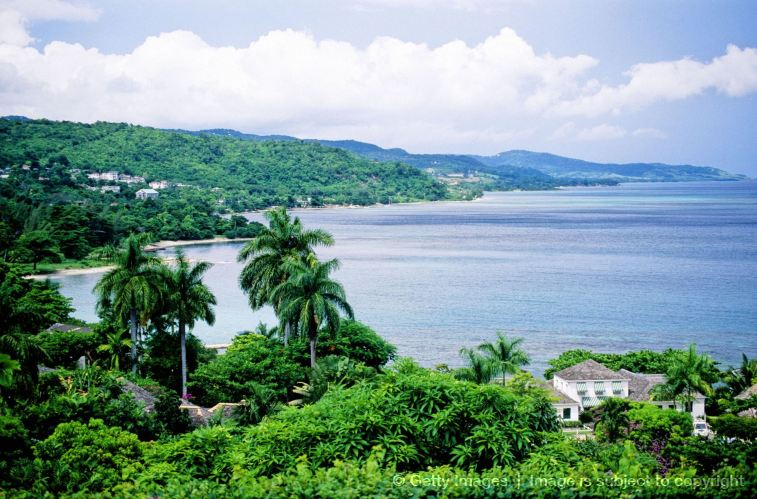 Overview on the bay. Luxury resort and condominium Round Hills. Montego bay. Jamaica (Caribbean)