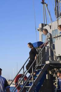 UN High Commissioner for Refugees (UNHCR) Antonio Guterres and U.S. actress and UNHCR Special Envoy Angelina Jolie descend from the bridge of an Armed...